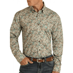 Rock & Roll Denim Regular Fit Brown Turquoise Paisley Button Shirt