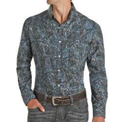 Rock & Roll Denim Men's Slim Fit Blue Black Paisley Button Western Shirt