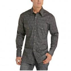 Rock & Roll Cowboy Men's Charcoal Print Pearl Snap Western Shirt