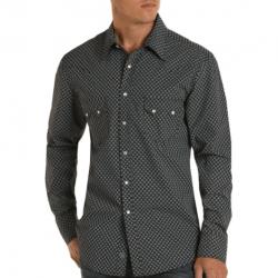 Rock & Roll Denim Slit Fit Black Blue Dot Snap Western Shirt
