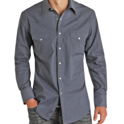 Rock & Roll Denim Dark Blu Print Snap Western Shirt