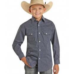 Rock & Roll Denim Boy's Blue Print Snap Western Shirt