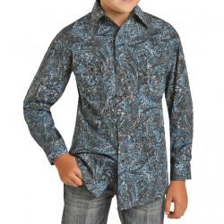 Rock & Roll Denim Boy's Blue Paisley Snap Western Shirt