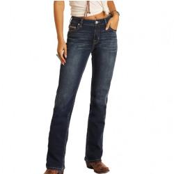 Rock & Roll Denim Ladies Dark Vintage Mid Rise Jean