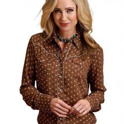 Stetson Ladies Brown Lucky Star Western Shirt