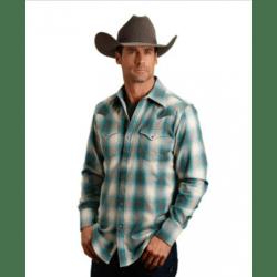Stetson Men's Teal Grey Plaid Snap Western Shirt