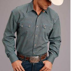 Stetson Men's Green Blue Tan Geo Print Western Shirt