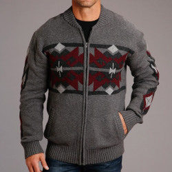 Stetson Men's Wool Blend Heather Grey Burgundy Sweater