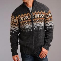 Stetson Men's Wool Blend Heather Grey Brown Sweater