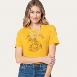 Stetson Ladies Hold Your Horses Graphic Yellow Tee