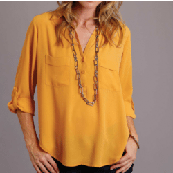 Stetson Ladies Poly Crepe Three Quarter Sleeves Yellow Blouse