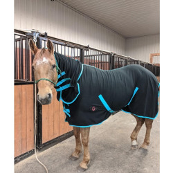 Tech Equestrian Fitted Fleece Cooler With Hood Turquoise