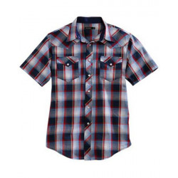 Tin Haul Men's Short Sleeve Bluestone Plaid Western Shirt