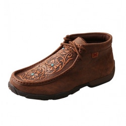 Twisted X Ladies Driving Moccasin Brown Tooled Flowers