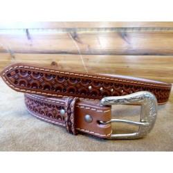 Ranger Men's Tan Tooled Belt