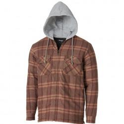 Wrangler Rugged Men's Wear Hooded Flannel Work Jacket Brown Plaid