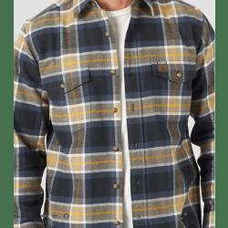 Wrangler Men's Riggs Workwear Heavy Flannel Button Navy Gold Plaid Shirt