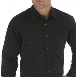 Wrangler Men's Long Sleeve Broadcloth Black Western Shirt