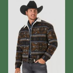 Wrangler Men's Sherpa Lined Jacquard Whiskey Print Jacket