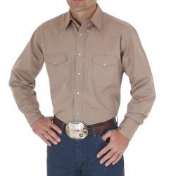 Wrangler Men's Sport Western Dobby Striped Snap Tan Shirt