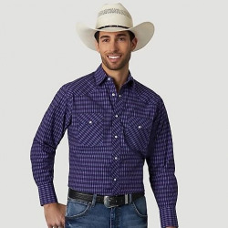 Wrangler Men's Silver Addition Purple Painted Snap Western Shirt