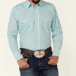 Wrangler Men's Turquoise With Black Strip Snap Western Shirt