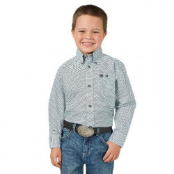 Wrangler Boys Classic Blue Long Sleeve Western Shirt