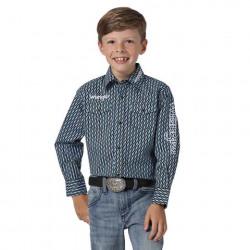 Wrangler Black Blue Thunderbolt Snap Western Shirt