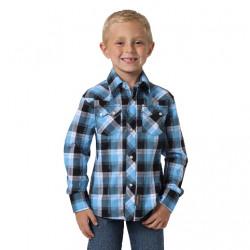 Wrangler Boys Retro Blue Black Plaid Western Shirt