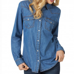 Wrangler Ladies Mid Denim Snap Western Shirt