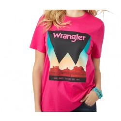 Wrangler Ladies Beetroot Wrangler Logo Desert Scene T Shirt