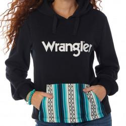Wrangler Ladies Black Pullover Hoodie With Aztec Pocket Design