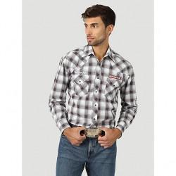 Wrangler Men's Black Red White Plaid Logo Western Shirt