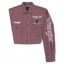 Wrangler Logo Long Sleeve Red White Print Western Shirt