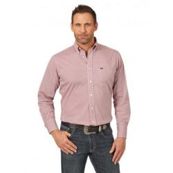 Wrangler Men's 20X Performance Burgundy White Button Shirt