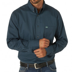 Wrangler Men's 20X Competition Performance Dark Blue Print Button Shirt