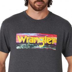 Wrangler Men's Charcoal Heather Desert Scene Logo T Shirt