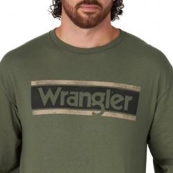 Wrangler Men's Olive Long Sleeve  Logo T Shirt