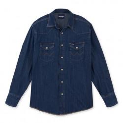 Wrangler Men's Western Long Sleeve Dark Denim Snap Work Shirt