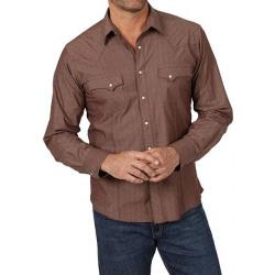 Wrangler Men's Brown Diamond Design Snap Shirt