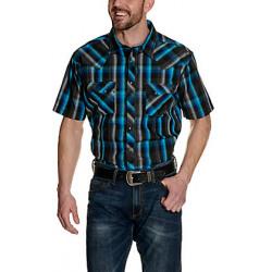 Wrangler Men's Short Sleeve Turquoise Black Plaid Western Shirt