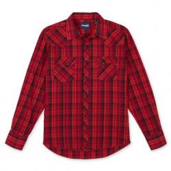 Wrangler Men's Long Sleeve Red Black Plaid Snap Western Shirt