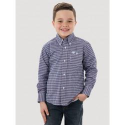 Wrangler Boy's Navy White Geo Print Button Western Shirt