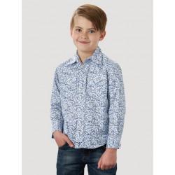 Wrangler Boy's White Blue Paisley Snap Western Shirt