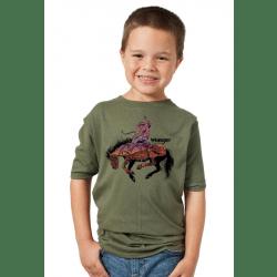 Wrangler Boys Olive Sunset Desert Bronco T Shirt
