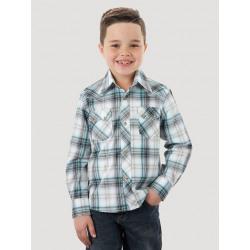 Wrangler Boy's White Grey Green Plaid Snap Western Shirt