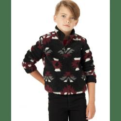 Wrangler Boy's Maroon Black White Aztec Fleece Sweater
