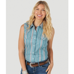 Wrangler Ladies Sleeveless Multi Stripe Snap Western Top