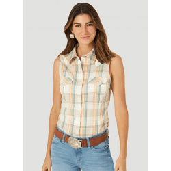 Wrangler Ladies Retro Sleeveless Multi Colour Plaid Snap Western Shirt