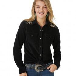 Wrangler Ladies Retro Black Southwestern Embroidered Corduroy Snap Western Shirt